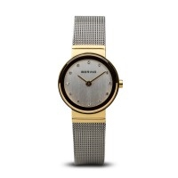 Bering ladies two tone brushed silver & polished gold watch with Swarovski elements