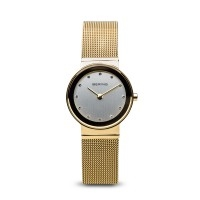 Bering ladies polished gold watch with Swarovski elements