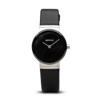 Bering ladies classic black leather watch