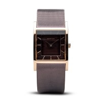 Bering classic ladies rose gold & brown watch