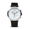 Bering men's classic polished silver with black leather & white dial watch