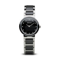 Bering ladies black ceramic watch with Swarovski elements