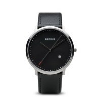 men's bering classic black leather watch with black dial