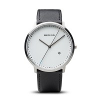 Bering men's classic black leather white dial watch
