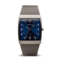 Bering classic men's brushed grey blue dial watch