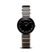 Bering ladies black ceramic polished rose gold watch with Swarovski elements