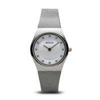 Bering ladies brushed silver watch with Swarovski elements