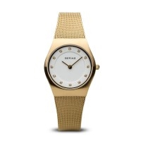 Bering ladies brushed gold watch with Swarovski elements