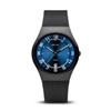 bering men's classic brushed black blue dial watch