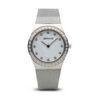 Bering classic ladies polished silver watch with Swarovski elements
