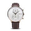 Bering men's polished rose gold brown leather band watch