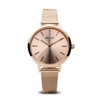Bering ladies classic polished rose gold watch