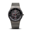 Bering men's ceramic brushed dark grey black dial watch