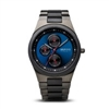 bering men's ceramic & stainless steel brushed black watch