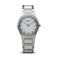 Bering ladies white ceramic cz watch