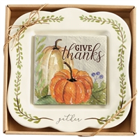 mud pie gather 2 piece pumpkin cheese set ceramic plate & napkins