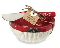 mud pie cable knit & white tartan 2 piece dip bowl set