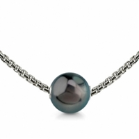 Tahitian Pearl Solitaire Cultured Sterling Silver Necklace