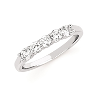 14k white gold 5 stone shared prong diamond anniversary ring