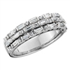14k white gold round diamond & baguette fashion ring