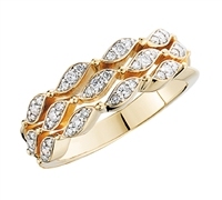 Waves of Desire Yellow Gold and Diamond Fashion Ring