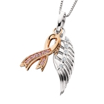 sterling silver & rose gold plated angel wing & cancer ribbon Swarovski crystal necklace