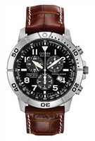 Men's Citizen Eco-Drive Perpetual Calendar Chronograph with Leather Strap Watch