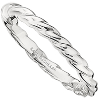 white gold rope detail stackable ring
