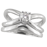 White gold criss cross diamond solitaire engagement ring with shadow band