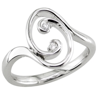 Oval Diamond Swirl Ring
