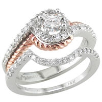 White & rose gold diamond engagement ring & wedding band