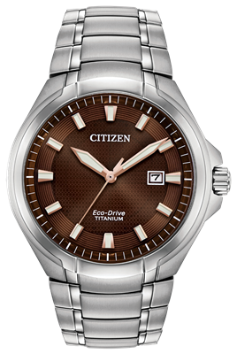 men's citizen eco-drive paradigm brown dial stainless steel watch  BM7413-51X
