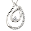 White gold double teardrop diamond necklace
