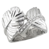 sterling silver & diamond feather ring