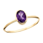 10k yellow gold amethyst stackable ring