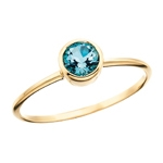 10k yellow gold blue topaz stackable ring