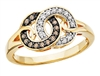 Caramel Diamond & White Diamond interlocking circles yellow gold ring