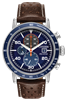 men's citizen eco-drive Brycen chronograph blue dial leather strap watch CA0648-09L