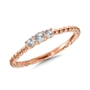 14k rose gold 3 diamond promise ring