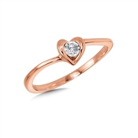 14k rose gold heart diamond promise ring