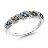Cognac & blue diamond white gold band