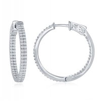 sterling silver inside out double row cubic zirconia cz hoop earrings