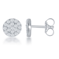 sterling silver cubic zirconia cz round 7mm earrings
