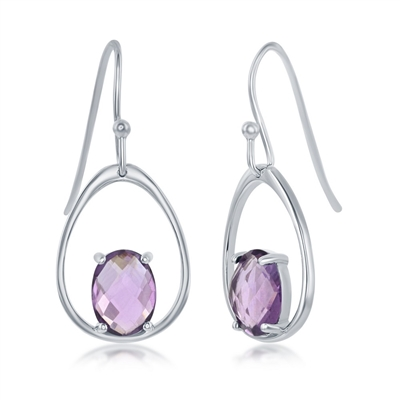 sterling silver French wire genuine amethyst earrings