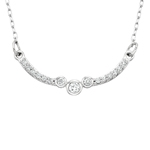 10k white gold diamond curve necklace
