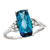 14k white gold London blue topaz & diamond ring