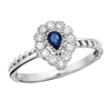 10k white gold genuine sapphire & diamond ring