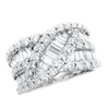 14k white gold round diamond & baguette ring