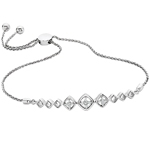 sterling silver & diamond adjustable bolo bracelet