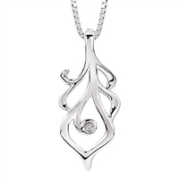 Diva Diamonds Feather Necklace Sterling Silver & Diamond